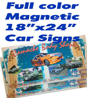 Car Magnets Full color Auto, Van, Truck Signs 18x24 FREE SHIPPING
