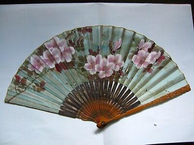 Antique Japanese silk and bamboo fan