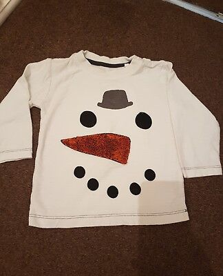 Boys next christmas snowman top 12-18 months