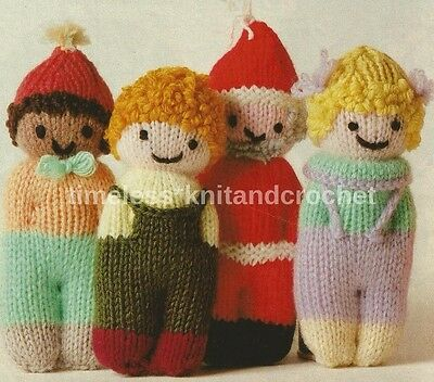 Knitting Pattern For 8 Cute Little Dolls / Toys / Mascots / Stocking Fillers