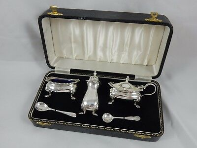 BOXED solid silver CONDIMENT SET, 1958 / 59