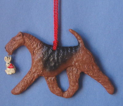 Airedale Terrier w/toy bunny-Artist sculpted Dog Breed Ornament