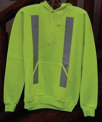 High Visibility Hoodie Hoody Hooded Sweat Shirt Fleece Top - Yellow