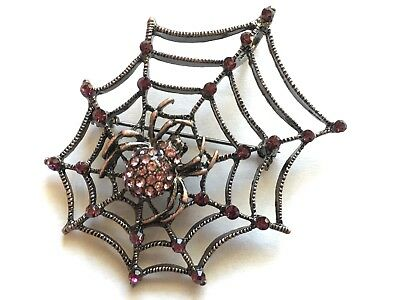 "Halloween spider web Brooch pin lavender  rhinestones 2 1/2""x2""copper tone #14"