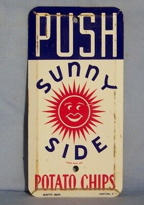 Vintage Sunny Side Potato Chips Tin Door Push