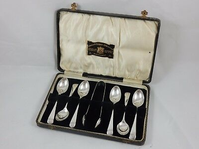 BOXED set x 6 solid silver TEA  SPOONS & TONGS, 1930