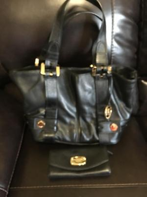 Michael Kors NS Harness Pebbled Leather Grab Bag Purse AND Wallet FREE SHIP
