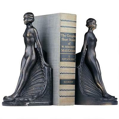 French Antique Replica Art Deco Shapely Nude Female Cast Iron Bookend Set
