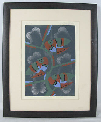 Pencil Signed Serge Gladky ART DECO Ltd Ed Owl Bird Design Pochoir Print #1 yqz