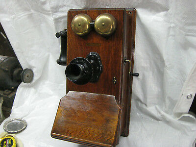 Antique Wood Western Electric Wall Mount Hand Crank Telephone Complete!