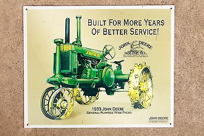 1933 John Deere Tractor Farming Farm Harvest American Farmer Metal Sign Tin