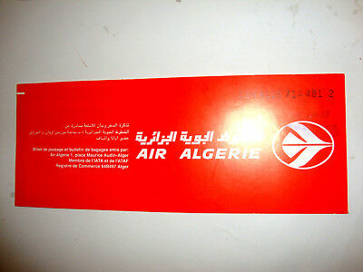AIR ALGERIE PASSENGER TICKET AND BAGGAGE CHECK. ancien billet
