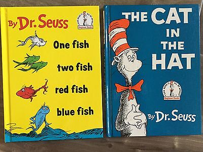 Dr. Seuss Book Cat In The Hat 1985 One Fish Two Fish Red Fish Blue Fish 1988