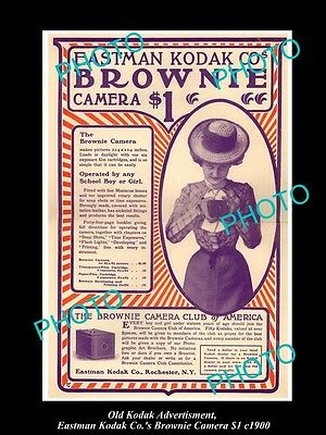 OLD LARGE HISTORIC KODAK CAMERA ADVERTISMENT, BROWNIE FOR A DOLLAR c1900