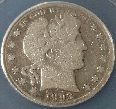 1893-S Barber Head Silver Half Dollar ANACS Good 6 - Details