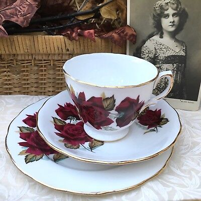 Royal Vale Bone China Trio Cup Saucer & Round Plate - Deep Red Rose 7978
