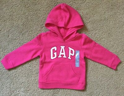 Toddler Girl Size 2 2T Gap Hot Pink Arch Logo Hoodie Sweater
