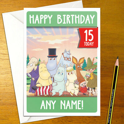THE MOOMINS Personalised Birthday Card - A5 cartoon moomin