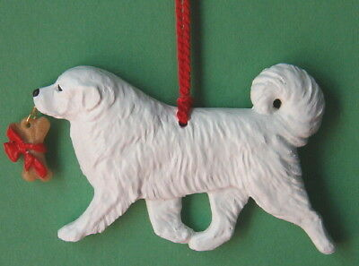 Great Pyrenees w/ bone charm-Artist sculpted Dog Breed Ornament