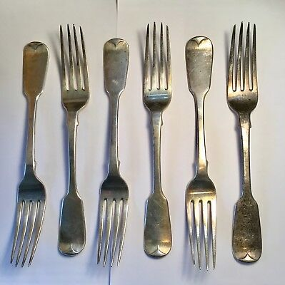 (6) Antique Sterling Silver Dinner Forks 19th C. Marked WB