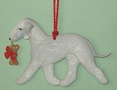 Bedlington Terrier w/ bone charm-Artist sculpted Dog Breed Ornament