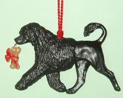 Potuguese Water Dog w/ bone-Lion Cut-PWD-Artist sculpted Dog Breed Ornament
