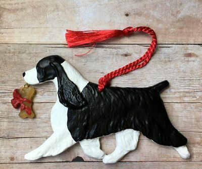 English Springer w/bone-Black & White-Artist sculpted Dog Breed Ornament