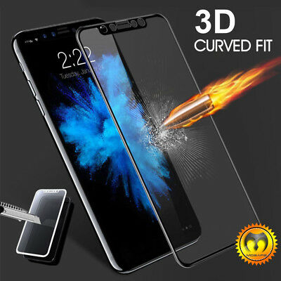 For iPhone 6 7 8 Plus X 3D Curved Full Coverage Tempered Glass Screen Protector