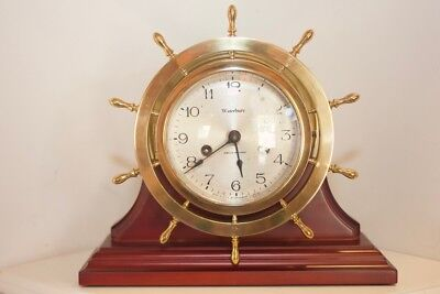 Waterbury Ship's Bell Clock with display stand ca 1929