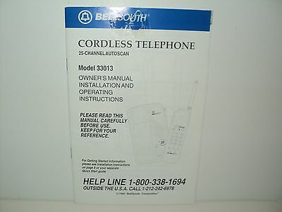BellSouth Cordless Telephone 25 Channel Autoscan #33013 Owner's Manual 1995