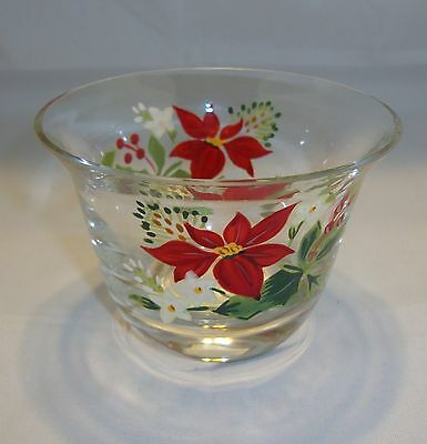 PartyLite CHRISTMAS POINSETTIA Votive Candle Holder NIB Made in Romania