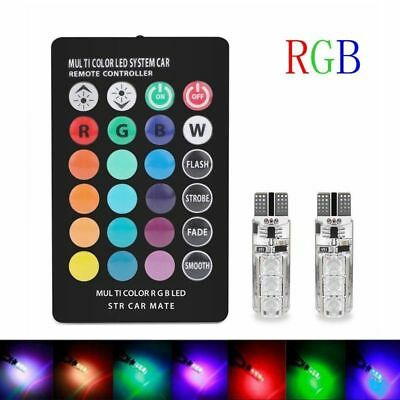 2X 12V T10 5050 6 SMD RGB Car Reading Wedge Light Lamp Bulb +Remote Controller