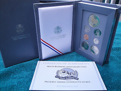 1991-S Us Mint~Prestige Proof 6-Coin Set (Mount Rushmore)-Ogp & Coa