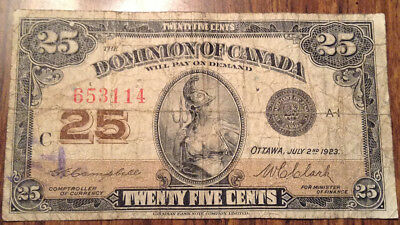 1923 Dominion Of Canada 25 Cents Bank Note
