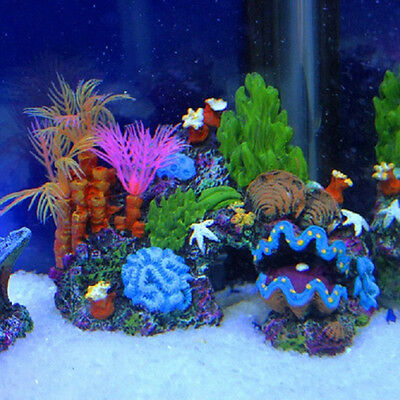 Aquarium Artificial Mounted Decor Ornament Set Coral Reef Fish Cave Tank Popular