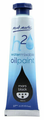 Mont Marte H2O Water Mixable Oil Paint 37ml - Mars Black