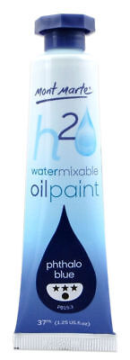 Mont Marte H2O Water Mixable Oil Paint 37ml - Phthalo Blue