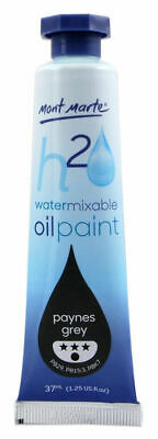 Mont Marte H2O Water Mixable Oil Paint 37ml - Paynes Grey