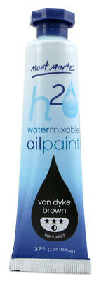 Mont Marte H2O Water Mixable Oil Paint 37ml - Van Dyke Brown