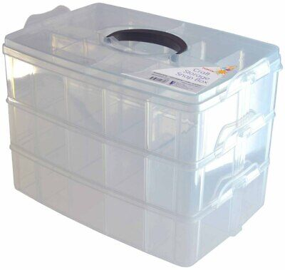 Craft Storage Box - 258 x 168 x 185mm (3 Snap On Sections)