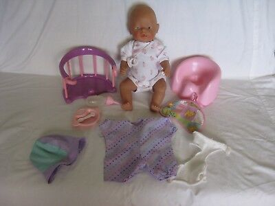 baby born doll & accessories, high chair, potty, bottle, dish, spoon 1990s