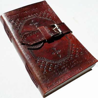 Handmade Embossed Buckle Leather Journal Diary Notebook Great Gift