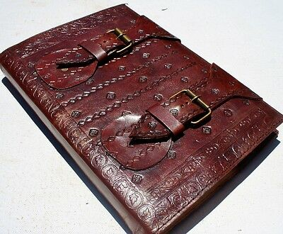 Handmade Leather Refillable Double Buckle Journal Diary Notebook Great Gift