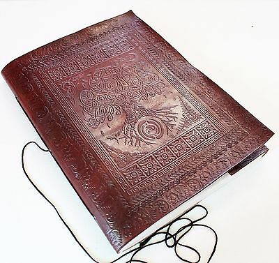 Handmade Leather X- Large Celtic Tree Of Life Journal Diary Scrapbook Great Gift