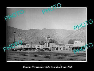 OLD LARGE HISTORIC PHOTO OF CALIENTE NEVADA, THE TOWN STORES & RAILROAD c1940