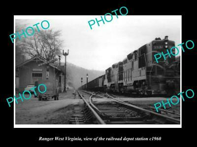 OLD LARGE HISTORIC PHOTO OF RANGER WEST VIRGINIA, THE RAILROAD DEPOT c1960