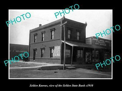 OLD LARGE HISTORIC PHOTO OF SELDEN KANSAS, VIEW OF THE SELDEN STATE BANK c1910
