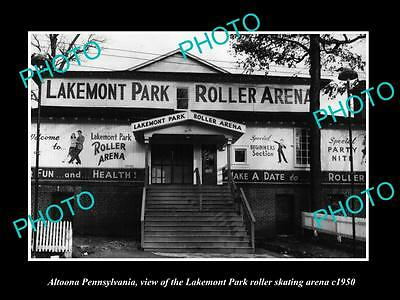 OLD LARGE HISTORIC PHOTO OF ALTOONA PENNSYLVANIA, LAKEMONT SKATING ARENA c1950