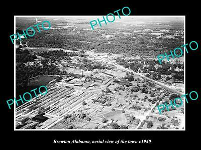 OLD LARGE HISTORIC PHOTO OF BREWTON ALABAMA, AERIAL VIEW OF THE TOWN c1940