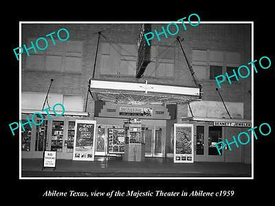 OLD LARGE HISTORIC PHOTO OF ABILENE TEXAS, VIEW OF THE MAJESTIC THEATRE c1959